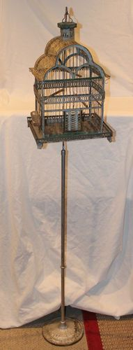 Antique Hendryx Stand with Unmarked Ornate Bird Cage 1 Glass Water 3 Perches | eBay