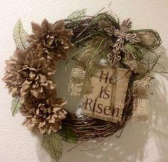 Primitive Easter Grapevine Wreath He Is Risen Burlap Flower Cross Shabby Chic 14