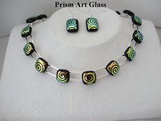 Georgeous Swirl Pattern Dichroic Glass Suite by prismartglass,