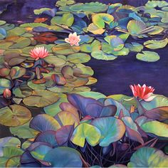Pond Lily Path painting by Marie Cameron Pond Painting, Lotus Painting, Lily Painting, Lotus Kunst, Lotus Art, Art And Illustration, Art Floral, Watercolor Flowers, Watercolor Art