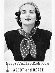 The Vintage Pattern Files: 1950's Knitting - Polka Dot Ascot & Beret