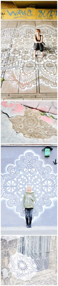Polish Artist Covers City Streets In Intricate Lace Patterns » It's all so pretty. I could handle seeing more of this around my world. Is she my long lost cousin? hee!
