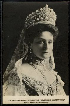 Czarina Alexandra bedecked in jewels, including a fabulous tiara.