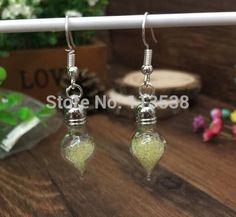 200sets/lot Miniature Glass Vial Earrings craft kit, Dangle Earrings, water drop Bottle Earrings stoppers cap jumpings ear wires