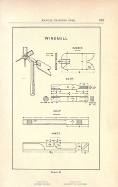 "Instructions for building a windmill. ""On a hilltop, exposed to every wind that blows, one of these windmills made by a boy has been spinning around for four years. The windmill in this form serves also as a weathervane."" Manual training toys for the boy's workshop, by Harris W. Moore (of course, we also recommend this book for girls). #diy #woodwork #toys This book is in the public domain."