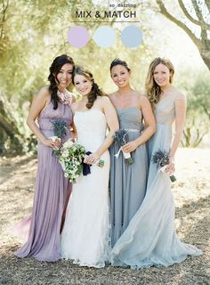 lavender and blue bridesmaids