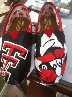 custom painted toms, Texas Tech Toms, personalized shoes. $95.00, via Etsy.