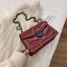 Patent Leather Glossy Crossbody Bags For Women 2020 Chain Shoulder Messenger Bag Fashion Handbags and Purses - burgundy,23cmx15cmx8cm