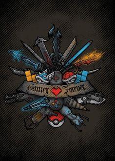 gamer videogame game console pokemon final fantasy diablo halo kingdom hearts zelda portals mario