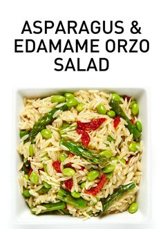 A small pasta gets huge flavor in this delicious, healthy and super simple Asparagus and Edamame Orzo Salad in which tender orzo is combined with crunchy asparagus, protein-packed edamame, intense sun-dried tomatoes, freshly grated parmesan, basil and garlic. #BiteMeMore #healthy