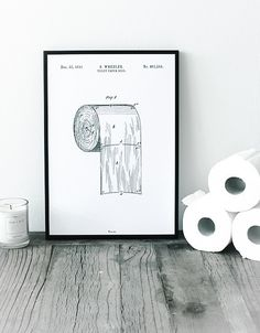 Toiletpapirrulle - Patent tegning /Toilet paper roll - Patent drawing - By Bomedo