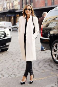 White coat/leather pants.