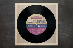 Vinyl Record Invitation - mazelmoments.com