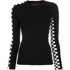Alexander Wang checkered detail sweater featuring polyvore women's fashion clothing tops sweaters black long sleeve tops white and black top white and black sweater black and white long sleeve top extra long sleeve sweater