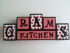 Gram's Kitchen  Wood Block Sign  by ForeverYoursCreation on Etsy, $18.00 #grandma #blocks