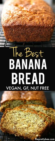 The BEST gluten free vegan banana bread recipe - it's delicious, easy, and made in one bowl! #dairyfree #vegan #eggfree #glutenfree #nutfree