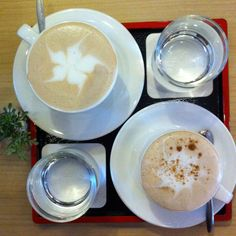 cappuccino and latte at jing si books & cafe, beach st