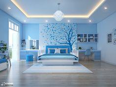 Blue Bedroom Decor, Master Bedroom Interior, Room Design Bedroom, Bedroom Wall Colors, Bedroom Furniture Design, Girl Bedroom Designs, Modern Bedroom Design, Home Room Design, Small Room Bedroom