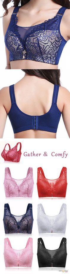 9ddbb5f86ff51 Women Plus Size Push Up Lace Mesh Full Coverage Wireless Comfy Bra