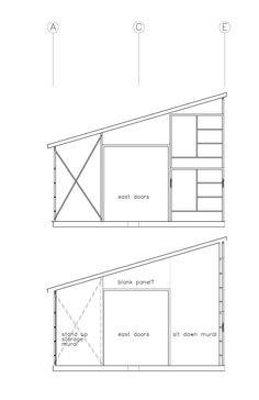 the first drawings of the new plan for using scavenged scaffolding for the frame