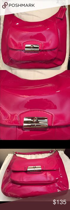"Coach Hot Pink Patent Leather Kristin Hobo Purse This gorgeous, brand new hot pink patent leather bag is shiny and truly breathtaking.  It is approximately 12"" high x 13"" wide x 2"" deep. There are two straps: 12"" and 31.5"".  The front pocket has a stylish magnetic clasp, and there is an inside zip pocket along with two inside spaces for cell phone and accessories.  The purse comes to you complete with a dust bag from my loving, smoke-free home.  I took the tags off but never got around to…"