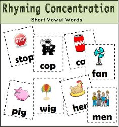 Free! Rhyming Concentration matching fun!