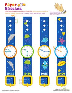 These adorable paper watches are fun to wear, and help kids practice telling time, too.