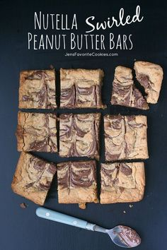 Nutella Swirled Peanut Butter Bars from Jen's Favorite Cookies  - Yes!  They DO taste as good as they look!