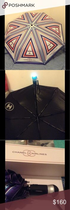 Chanel Airline umbrella Brand new umbrella from Runway. This umbrella was a gift given out at 2016 Fashion Airport Runway in Paris CHANEL Accessories Umbrellas