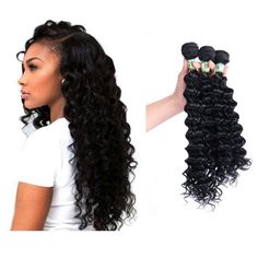 """Deep Wave Hair Extensions Weft Weave Natural Black Color 3 Bundles Synthetic 16"""""""