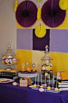 purple and gold graduation party supplies - Google Search