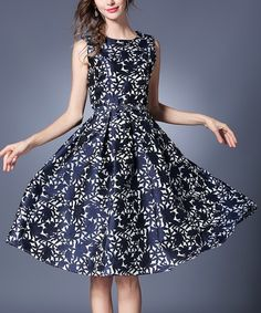 Another great find on #zulily! Blue Floral Fit & Flare Dress #zulilyfinds