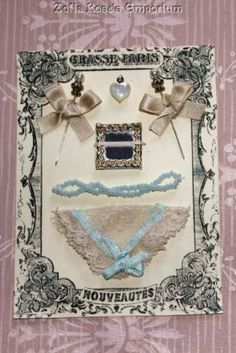 FRENCH FASHION~DOLL ACCESSORY~Presentation Display Card~Antique Lace Hanky