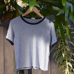 Black/Grey T-Shirt Super soft and baggy striped t-shirt with black, grey, and white stripes! Brandy Melville Tops Tees - Short Sleeve