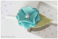 Blue pom flower with pearl center headband - Baby Headband