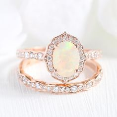 Elegant opal bridal set in rose gold showcases a vintage floral diamond and opal engagement ring and matching diamond wedding ring. Celebrate your love with this October birthstone ring. This oval cut opal ring set can be made in platinum or gold. Wedding Rings Simple, Wedding Rings Rose Gold, Rose Gold Engagement, Wedding Rings Vintage, Bridal Rings, Unique Rings, Wedding Jewelry, Gold Rings, Halo Engagement