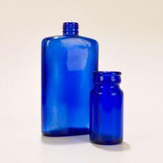 Love vintage blue glass bottles
