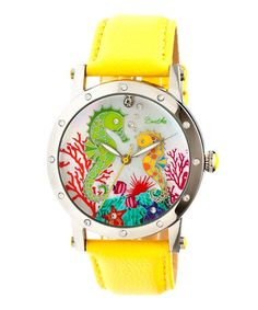 Take a look at this Stainless Steel & Yellow Morgan Mother-of-Pearl Leather-Strap Watch on zulily today!