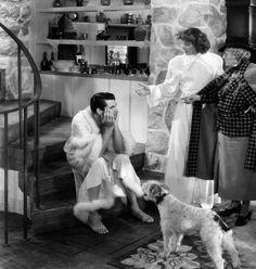 "Cary Grant, Katharine Hepburn, May Robson and Skippy as ""George"" in ""Bringing Up Baby"" 1938."