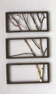 Here are three custom sized frames with no glass or backing. Real tree branches were cut to fit the frames, with branches continuing from one frame into the next to look like a tree outside a window