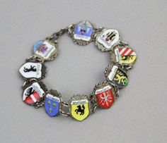 1930s-40s Sterling Silver + Enamel German Travel Souvenir Bracelet