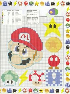 Cross Stitch For Kids, Just Cross Stitch, Cross Stitch Baby, Cross Stitch Charts, Cross Stitch Patterns, Mario Crochet, Pixel Crochet, Crochet Cross, Disney Stitch