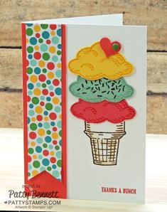 Fun Ice Cream Cone birthday card handmade with Stampin' Up! Sprinkles of Life stamp set and Tree Builder punch.  Ronald McDonald House charities fundraiser stamp set for 2015-2016