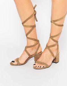 255acc91568 Faith - Dela - Sandales à talons mi-hauts et lacets en daim - Fauve. Mid Heel  SandalsNude SandalsLace Up ...
