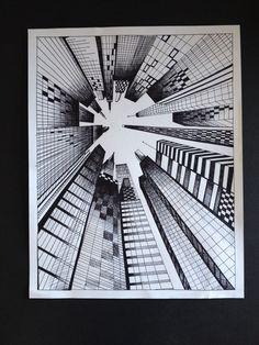 Perspective art, middle school art, high school art, drawing lessons, art l One Point Perspective, Perspective Drawing, Art Sketches, Art Drawings, Stylo Art, 7th Grade Art, Illusion Art, Pen Art, Drawing Techniques