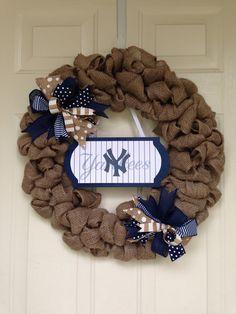 New York Yankees Burlap Weeath by Toobes on Etsy https://www.etsy.com/listing/232752197/new-york-yankees-burlap-weeath