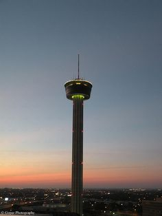 San Antonio Texas. Have dinner at the slowly-revolving top of the Tower of the Americas.
