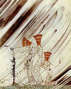 Three Princesses Blown Away by a Snow Drift Kay Nielsen illustration Pinned for later from nielsen.artpassions.net.