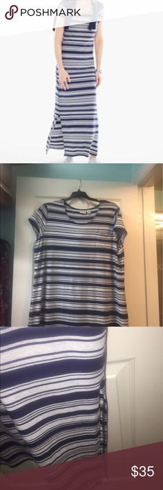 Chico's sz 3 maxi dress Excellent used condition. Long maxi dress. Chico's size 3 please be familiar with Chico's sizing see website for size chart. Navy and gray heather. Chico's Dresses