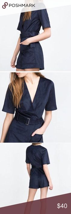 Zara Blue Faux Suede Romper So flattering & sassy & chic. Fits up to a 12 comfortably. Perfect for a night on the town, all year round.   Great condition, no visible flaws except missing belt. Zara Pants Jumpsuits & Rompers